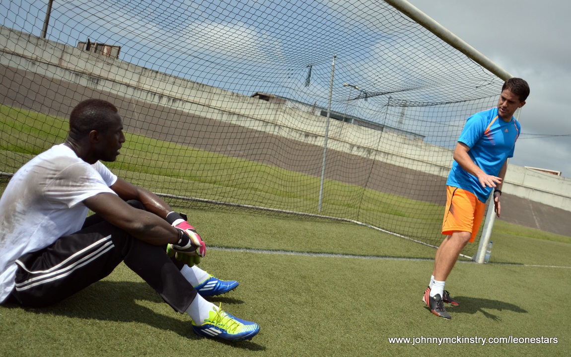 Coach McKinstry with John Trye, Goalkeeper, Leone Stars [Photo (c) Darren McKinstry]