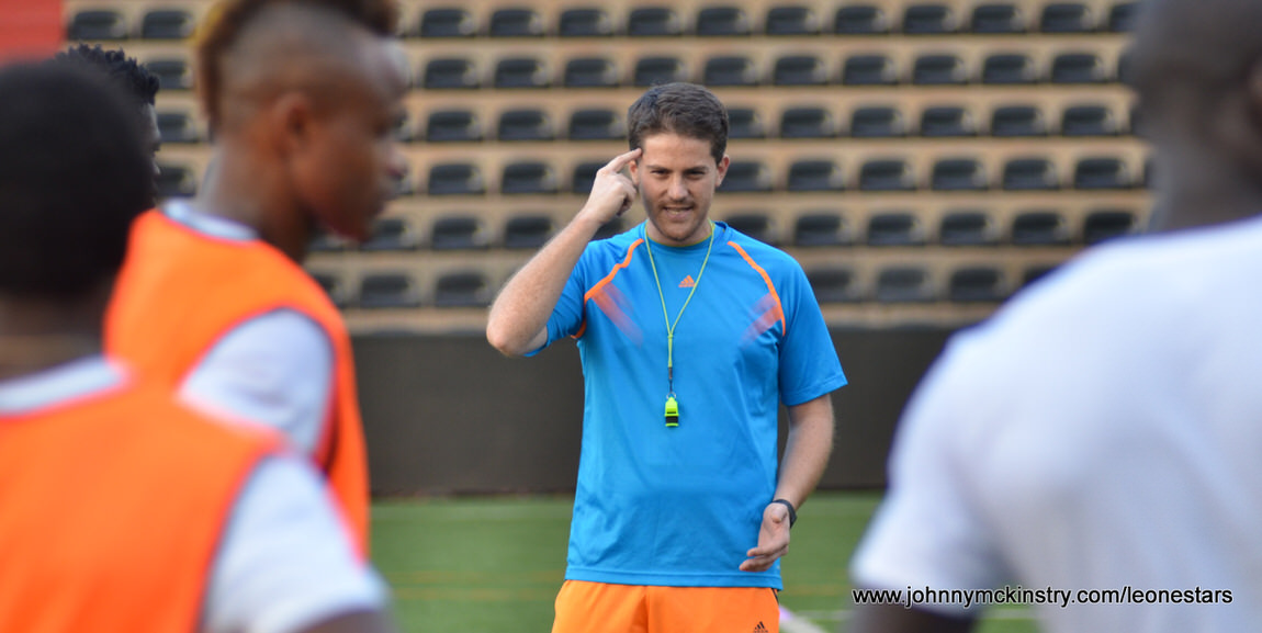 Coach McKinstry, working with the Leone Stars.  Pic © Darren McKinstry - more at www.johnnymckinstry.com/leonestars