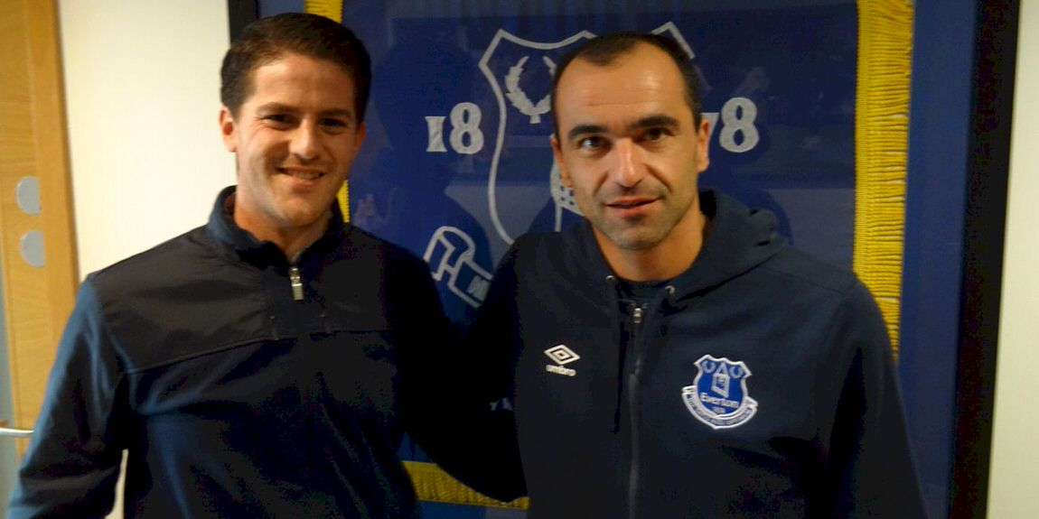 Coach McKinstry with Roberto Martinez at Everton FC