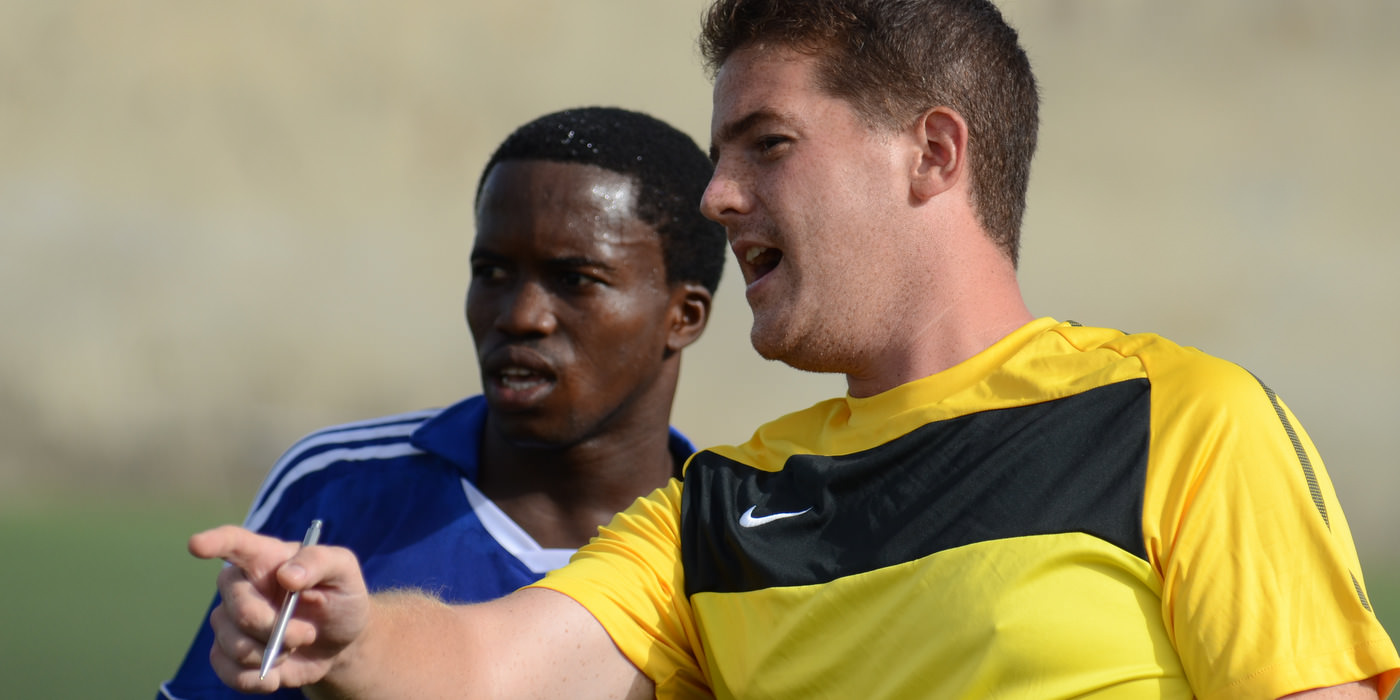 Head Coach Johnny McKinstry and George 'Kweku' Davis  [Leone Stars Training Camp, Cape Verde, June 2013 (Pic: Darren McKinstry)]