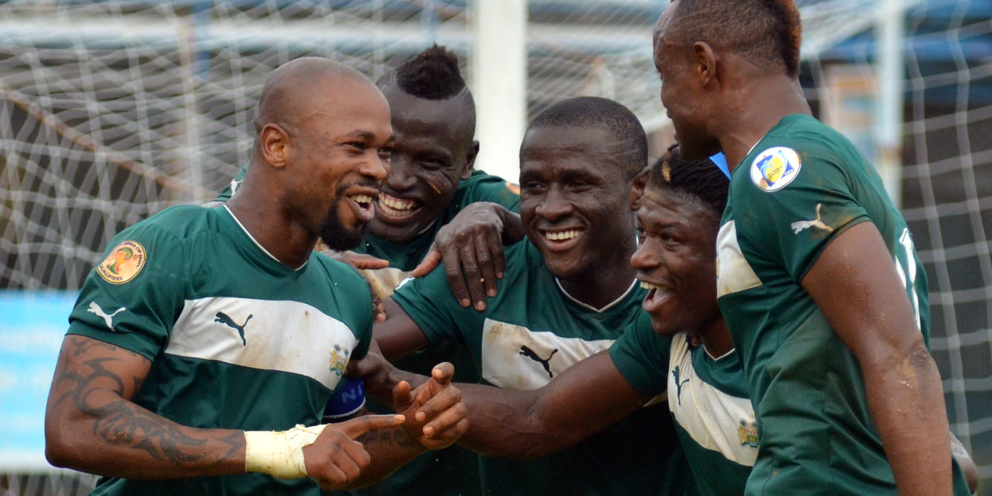 Ibrahim 'Obrey' Kargbo celebrates his penalty goal with teammates 'Crespo', Strasser, 'Poborsky' and Suma.  [Leone Stars Vs. Equatorial Guinea, 7 Sept 2013 (Pic: Darren McKinstry)]