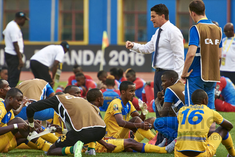 Coach McKinstry speaks to players ahead of extra time. [Rwanda V DR Congo, Quarter Finals - CHAN, Jan 2016 in Kigali, Rwanda.  Photo © Darren McKinstry 2016, www.XtraTimeSports.net]