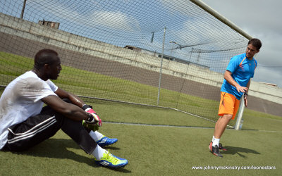 Coach McKinstry working with goalkeeper John Trye [Training camp ahead of Leone Stars v Ivory Coast on 6 September 2014 (Pic © Darren McKinstry / www.johnnymckinstry.com)]