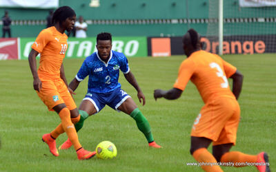 Mustpaha Dumbuya [Leone Stars v Ivory Coast, 6 September 2014 (Pic © Darren McKinstry / www.johnnymckinstry.com)]