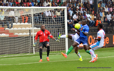 Alhadji Kamara drives on goal    [Leone Stars v DR Congo, 10 September 2014 (Pic © Darren McKinstry / www.johnnymckinstry.com)]