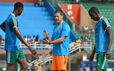 Coach McKinstry speaking with Khalifa Jabbie and Sulaiman Sesay  [Training Camp ahead of Leone Stars v Swaziland Game on 31 May 2014 (Pic: Darren McKinstry)]