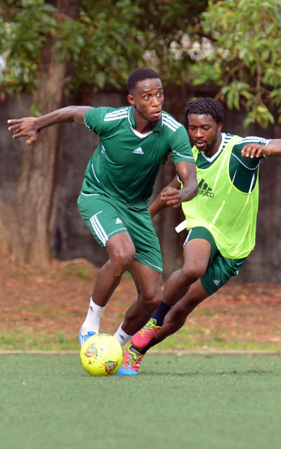 Khalifa Jabbie and Michael Lahoud  [Training Camp ahead of Leone Stars v Swaziland Game on 31 May 2014 (Pic: Darren McKinstry)]