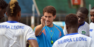 Coach McKinstry working with the Leone Stars, 2014. [Pic: Darren McKinstry]
